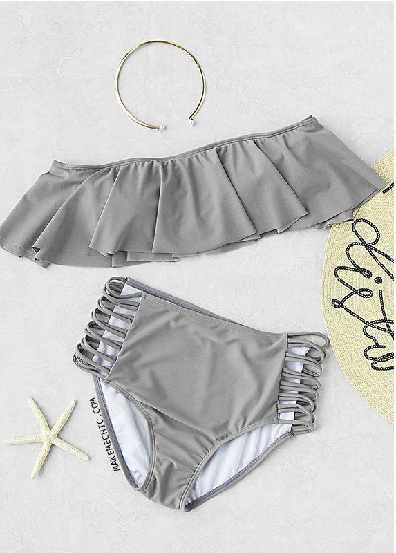 Grey Strapless Ladder Cutout High Waist Ruffle Bikini Set