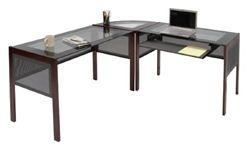 Modern corner computer desk with glass top and wood legs. #ComputerDesk #ModernDesk
