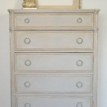French Linen and Gold CLassic Dresser