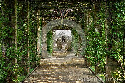 Green pergola in Branitz palace. Germany. Europe.