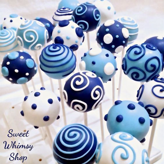 Cake Pops to add to the baby shower, blue and white.