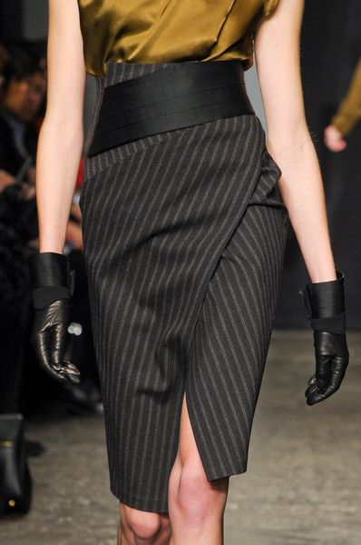 Pinstripe pencil skirt reworked: Donna Karan Fall 2012 -