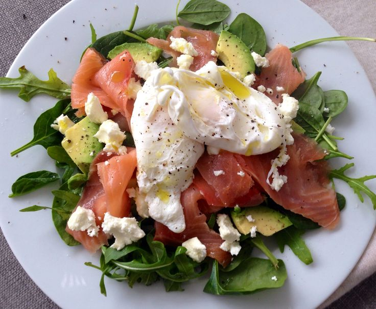 Paleo poached eggs goats cheese smoked salmon avo..mmm