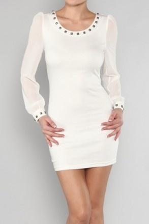 White Sheer Sleeve Bodycon Dress