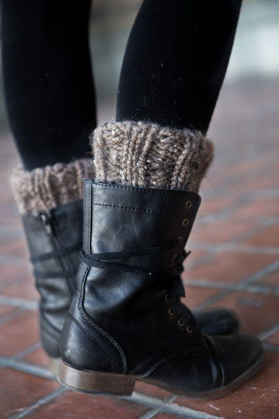 Barley Brown Boot Cuffs - Knitted Boot Cuffs - Legwarmers - Half Sock - Women - Teen Girls - Customize Your Order