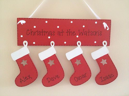 PERSONALISED WOODEN GIFT SHABBY CHIC CHRISTMAS FAMILY PLAQUE HANGING STOCKINGS   eBay