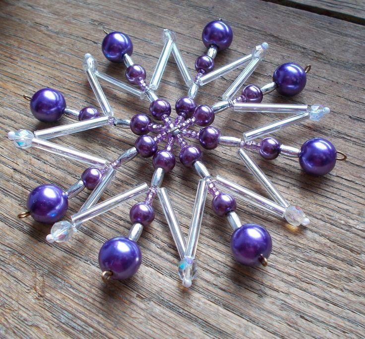 Vánoční korálková hvězda - fialová