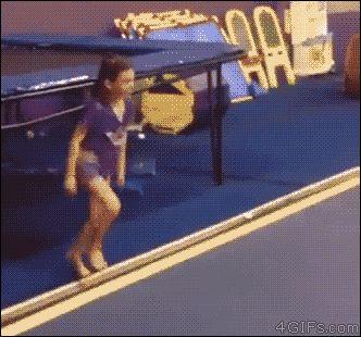 Young gymnast handsprings