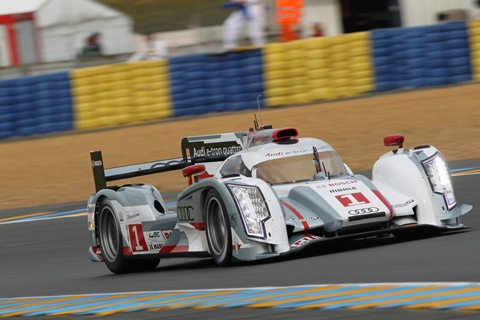 Twin Audi R-18 e-tron quattros turn in the best lap times in preparation for 24 Hours of Le Mans.