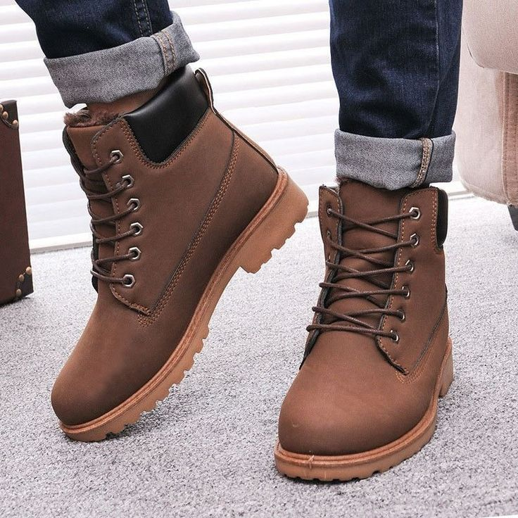 Men's Nubuck Leather Fur-Lined Warm Winter Boots 4 Colors #wintershoes