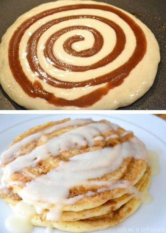 # 7.  Rollo de canela Pancakes - 30 de Super Fun Ideas desayuno merece la pena levantarse