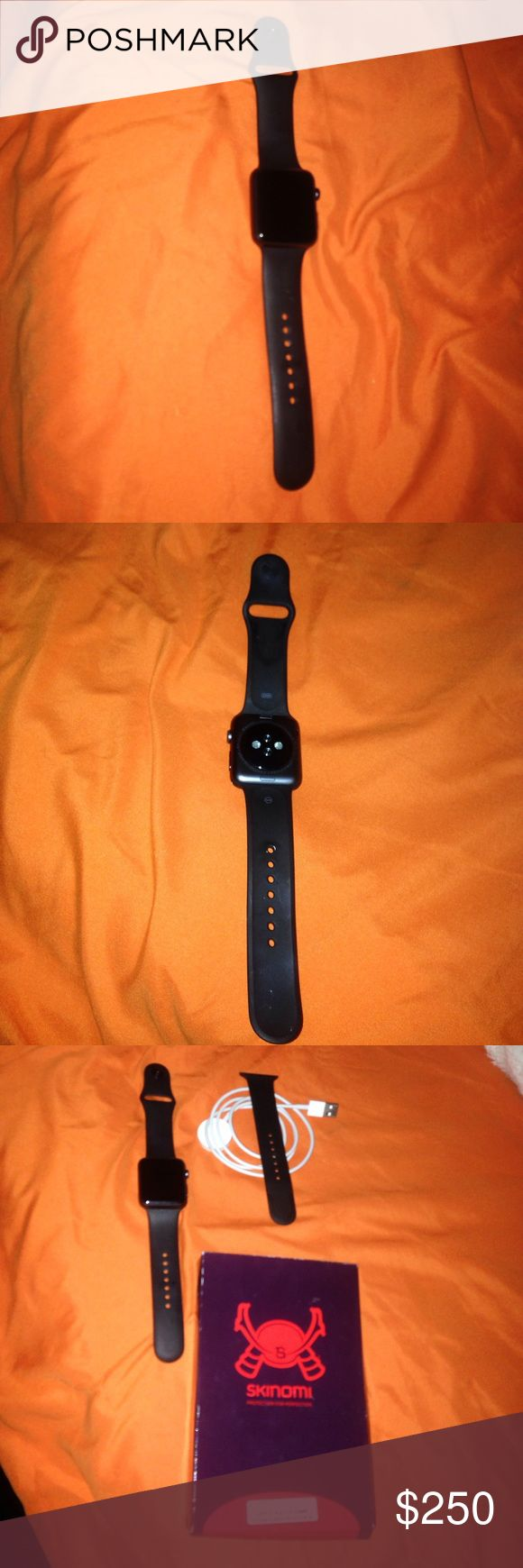 42 mm space gray series 1 Apple Watch In great condition. No scratches. No signs of wear. It comes with small and large sports band and charger. Original box is included. I bought it brand new and only wore it a handful of times. It also comes with screen protectors. I'm willing to sell at a reasonable price apple Accessories Watches