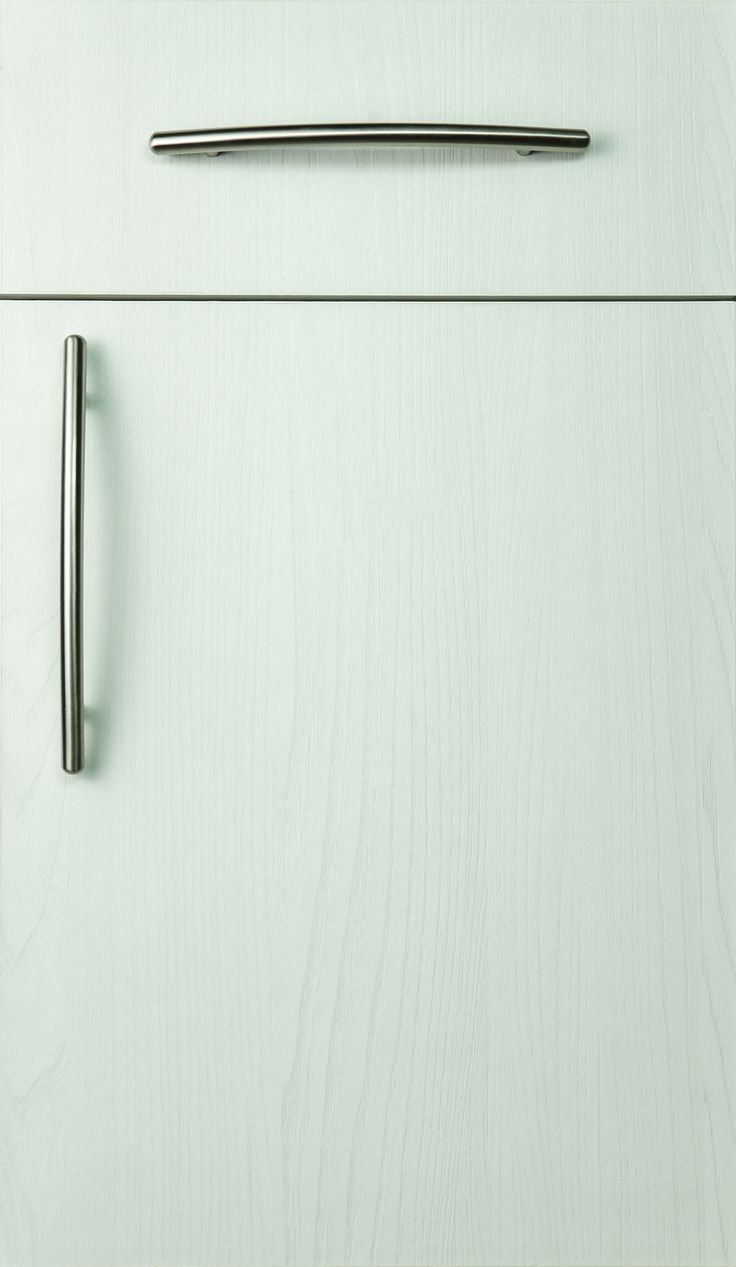 Milano textured melamine door style finished with the white Winter Bay finish.