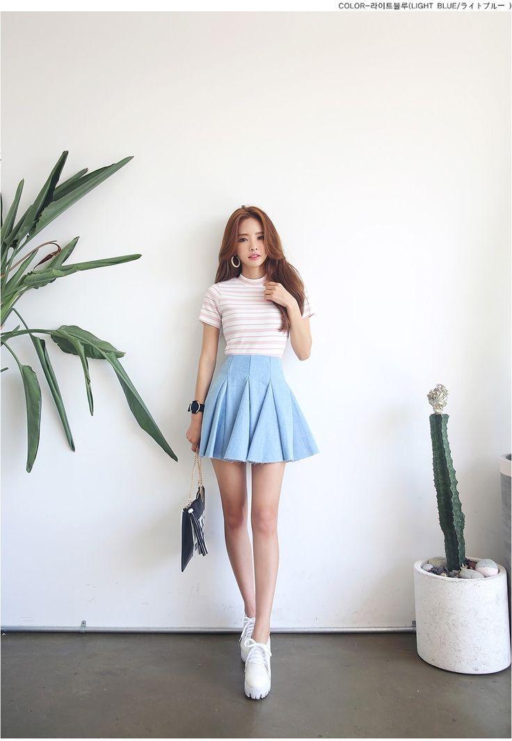 Flared Denim Skirt | Korean Fashion