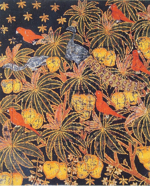 Painted and stenciled cotton panel - Deccan - late 18th C. India, Calico Museum of Textiles, India