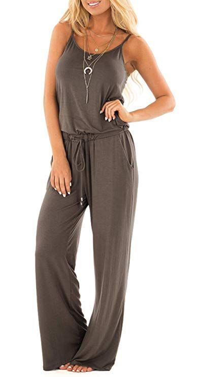 d3e3863d29 NuoReel Women Casual Sleeveless Loose Wide Legs Jumpsuit Halter Waist Tie  Stretchy Rompers Pants With Side Pockets