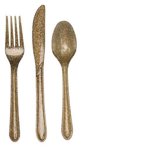Creative Converting Premium Plastic Glitz Gold Glitter Cutlery by Creative Converting, http://www.amazon.com/dp/B009EVLMHG/ref=cm_sw_r_pi_dp_x_VeOrzbPN3VVBS