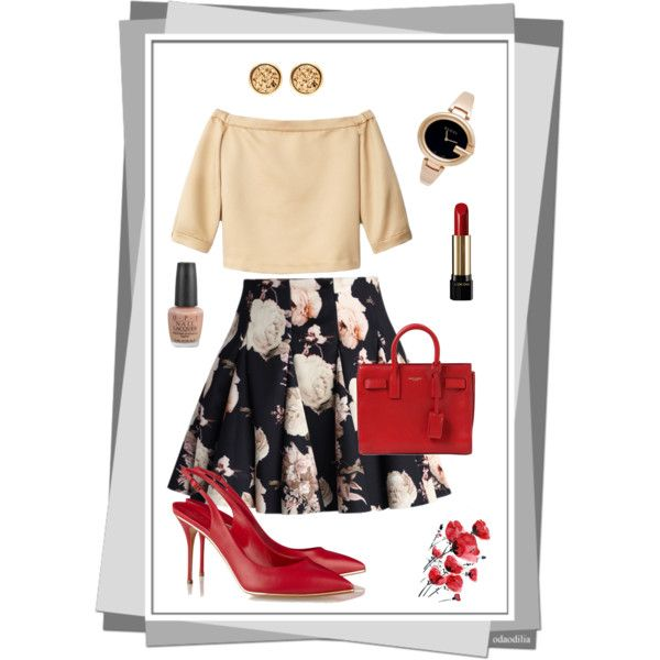 Date night. Touch of red #polyvore