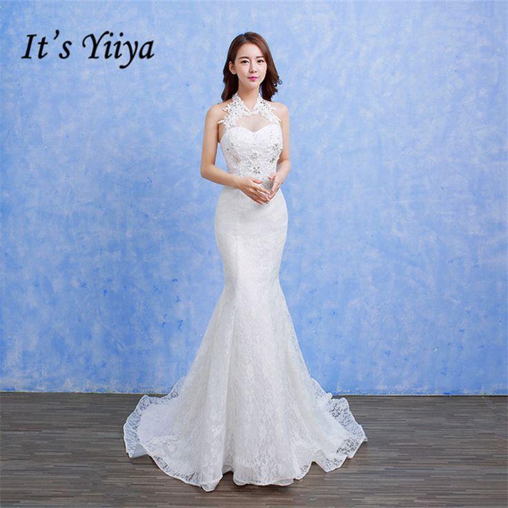 Free Shipping 2017 Vestidos De Novia Halter Collar Mermaid Train Wedding Dresses White Bride Frocks Real Picture Plus size D92 #Affiliate