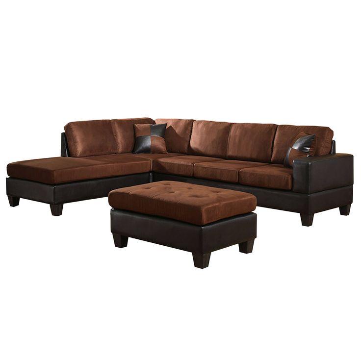 Venetian Worldwide Dallin Sectional Sofa And Ottoman Chocolate Left Side  Chaise