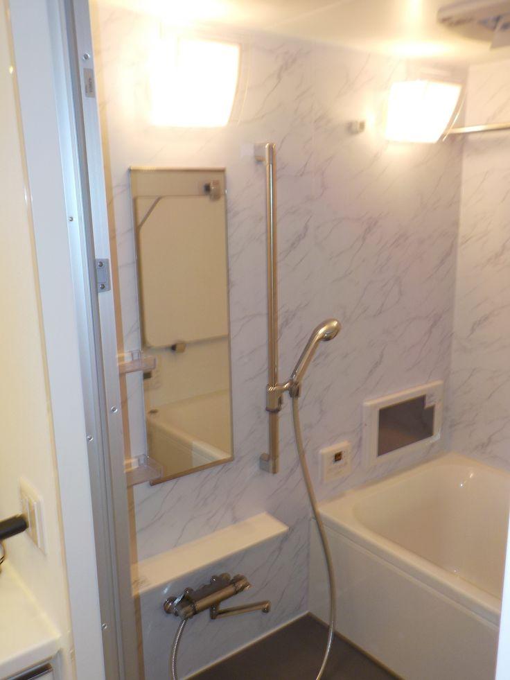 マンションのお風呂の施工させていただきました もともと茶色だった壁をリアテックシートでイメージチェンジ 浴室テレビもつけました 工務店 お風呂 マンション リアテックシート 浴室テレビ 施工例 京都府 ユニットバス リアテック お風呂