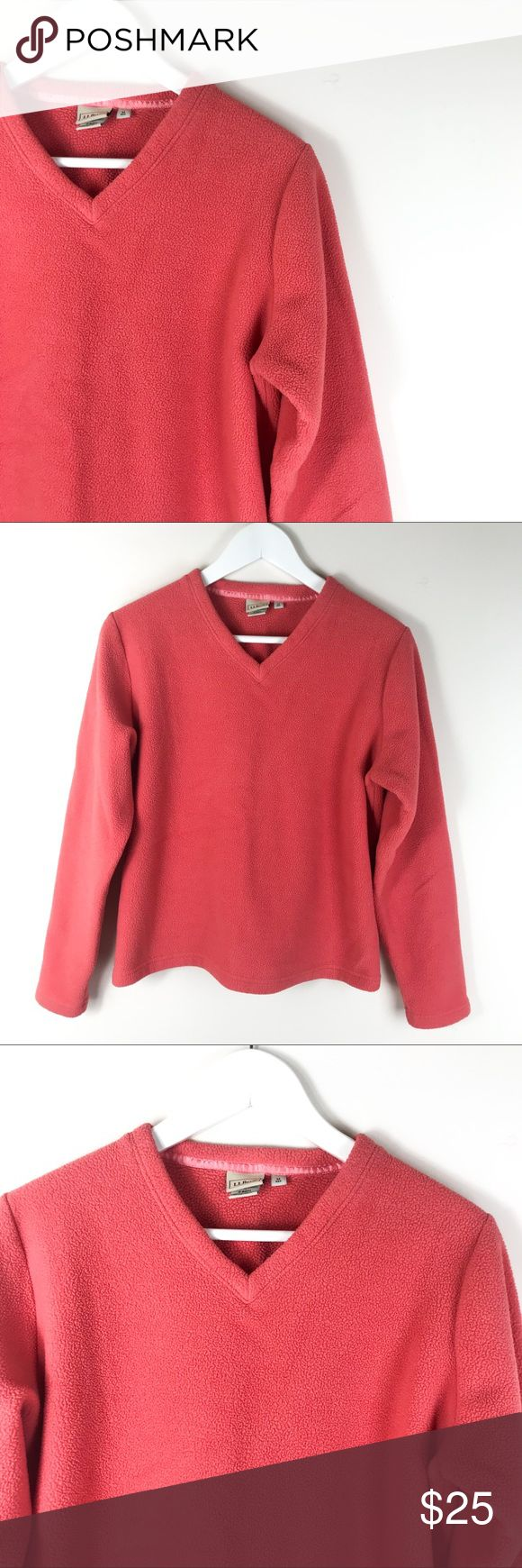 L.L. Bean Red Orange Fleece V-Neck Top Size Medium Women's L.L. Bean Red Orange Fleece V-Neck Top Size Medium  This L.L. Bean Sweatshirt is used, but in good condition overall. Size - Medium. L.L. Bean Sweaters V-Necks