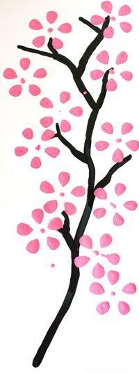 Cherry blossom prints made using 2 liter soda bottles.