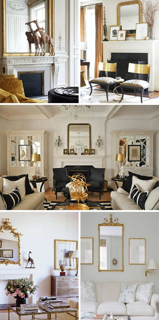 Black and white living rooms with a hint of gold black for Gold and black living room ideas