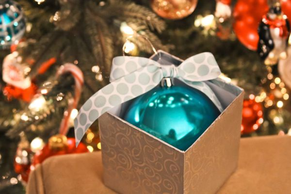 cute idea for a Christmas gender reveal!
