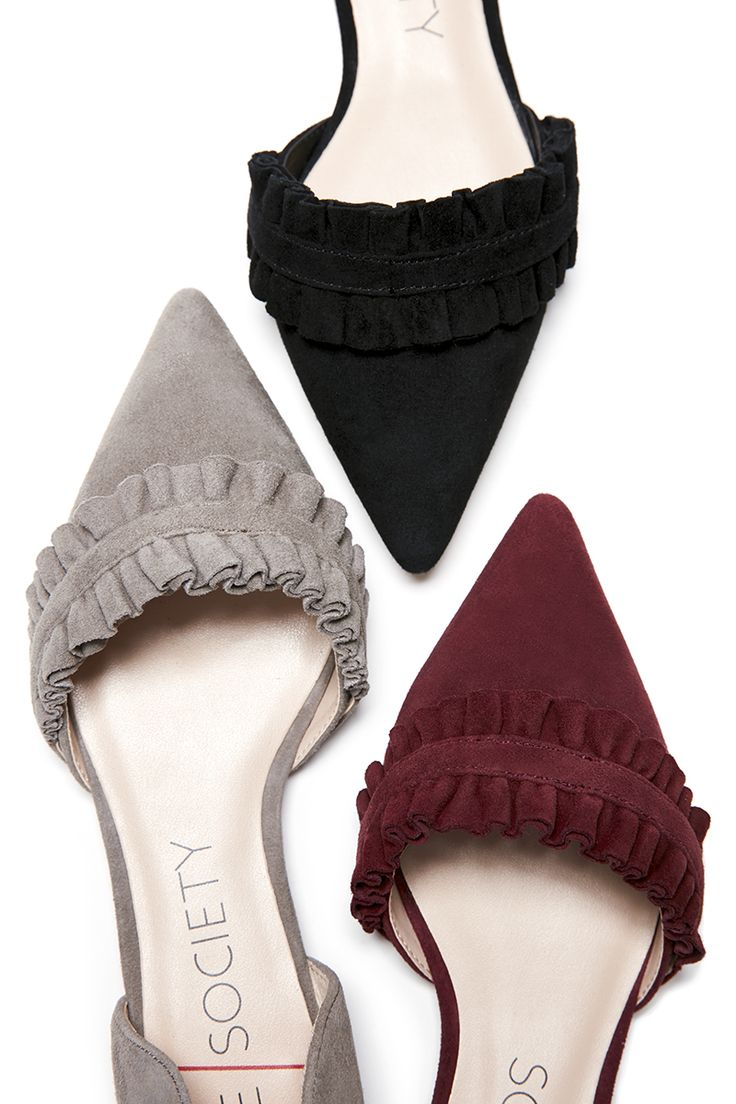 Ruffled suede d'Orsay flats in black, grey and dark red | Sole Society Rosalind