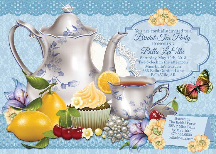 Tea Parties, Bridal Tea Party Invitation, Tea Party Invitations, Garden Tea Party, Party Invitations by BellaLuElla on Etsy https://www.etsy.com/listing/126063047/tea-parties-bridal-tea-party-invitation
