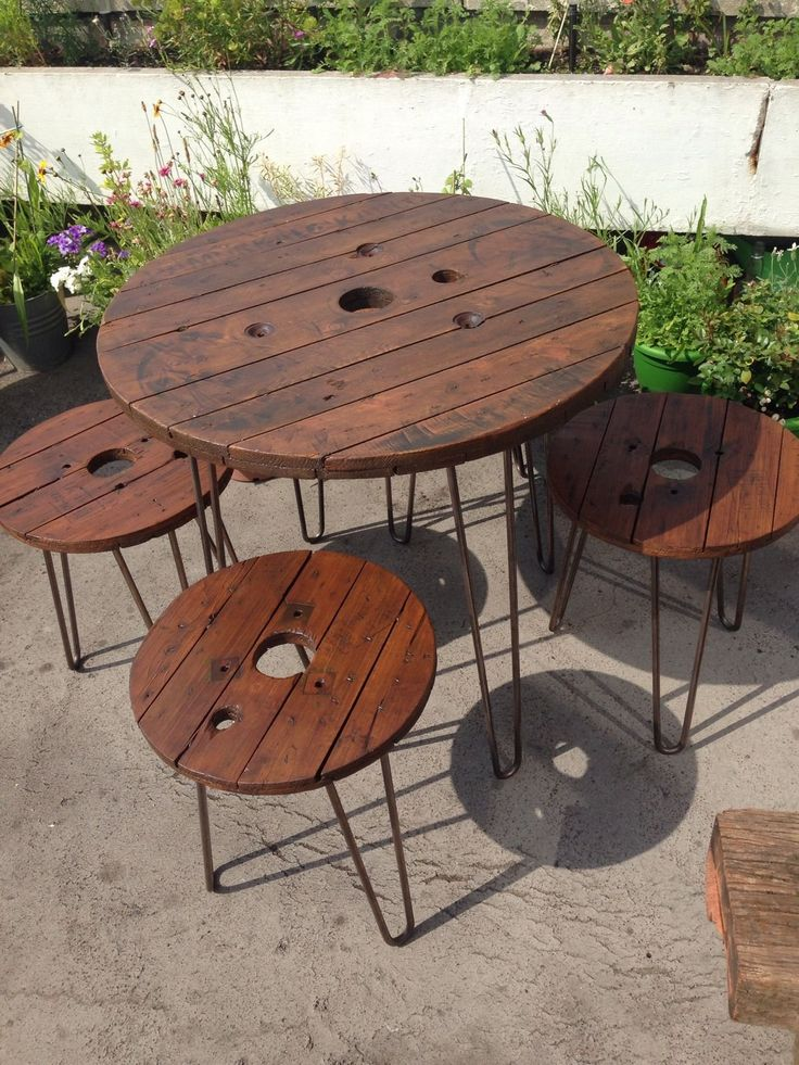 Wooden Garden Furniture Set Table And Stools Upcycled Cable Reel Drums | eBay