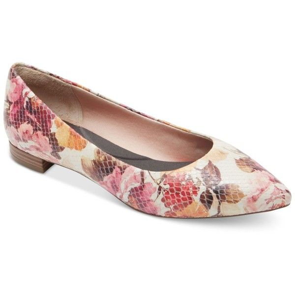 Rockport Women's Total Motion Adelyn Pointed-Toe Flats featuring polyvore, women's fashion, shoes, flats, pink floral, ballet pumps, flat shoes, pink ballet flats, pointed toe flats and pink shoes