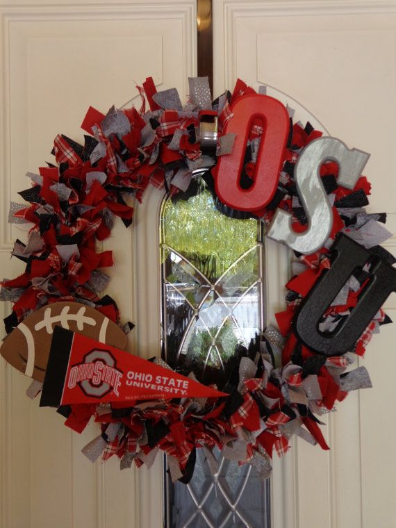 Fabric wreath for the Ohio State fan by Sophistacreations on Etsy, $46.00