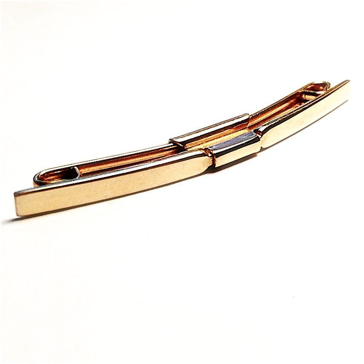 """Men's Vintage Collar Bar- Gold Metal Estate Shirt Collar Stay / Clip, 1-3/4"""" Elevates Neck Ties, SWANK circa 1950s by Lynx2Cuffs on Etsy"""