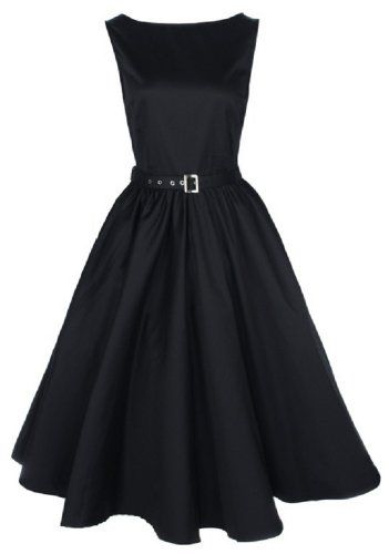 this would be adorable with a shiny jacket :) Buy New: $46.99: #Apparel: Lindy Bop Vintage 50S Audrey Hepburn Style Swing Party Rockabilly Evening Dress