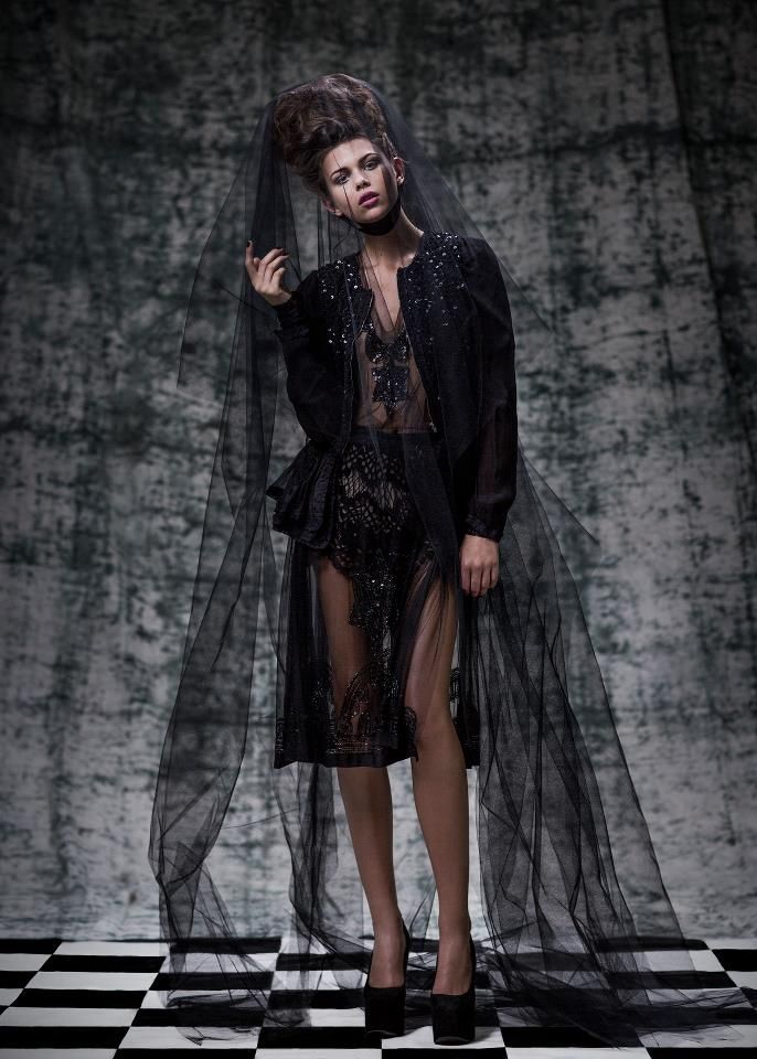 Trelise Cooper Old World Romance jacket, Black Widow dress and Madcap Charm shorts