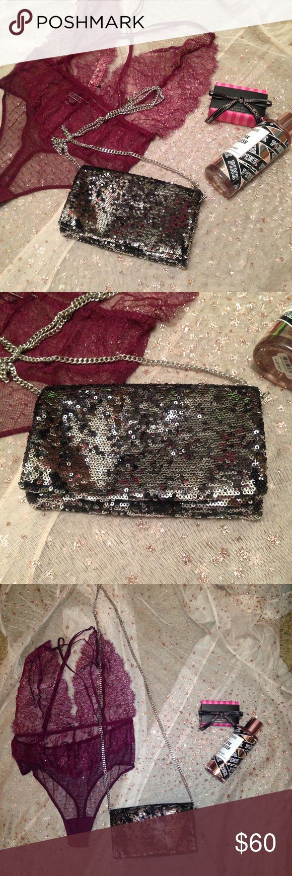 Sequin Clutch Gorgeous silver & gunmetal tone sequin clutch / wallet.   •detachable shoulder chain •two zipper pockets- one is 1/3 clutch, other is 2/3 clutch (goes under middle section) •can be used as a clutch or a shoulder bag  Brand new from my boutique! Also available in gold / champagne.  all offers are welcome! Boutique Bags Clutches & Wristlets
