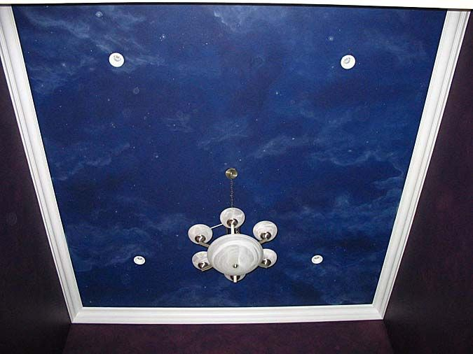 Night sky ceiling mural murals pinterest night for Ceiling sky mural