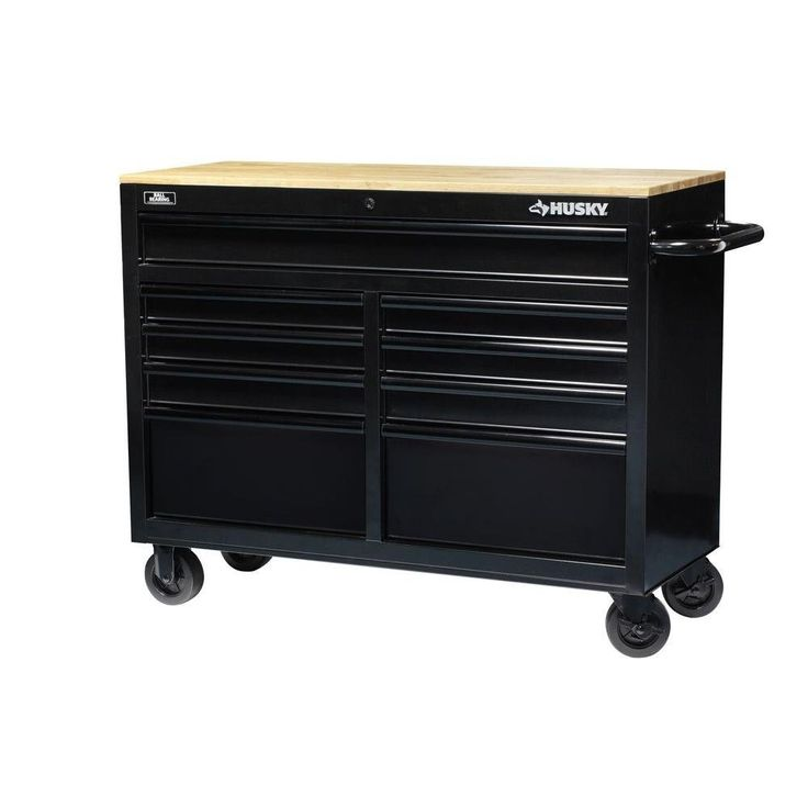 Husky Work Bench 46 in. 9-Drawer Black Out Mobile Workbench with Solid Wood Top