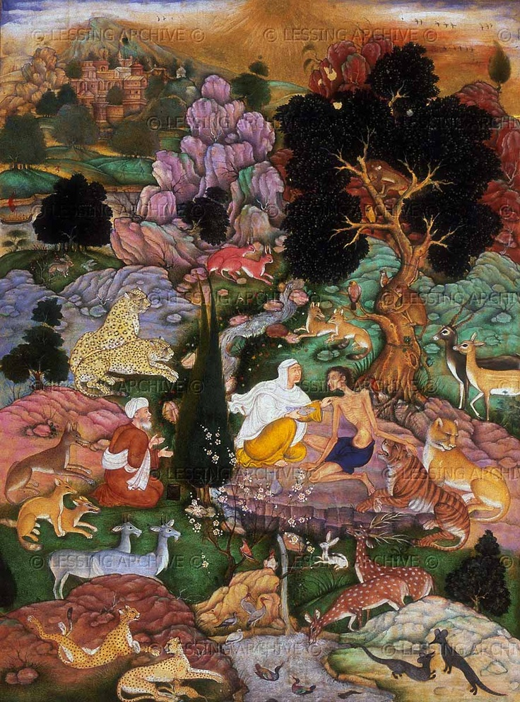 Majnun visited in the desert by his mother and Salim, 1595. Majnun's mother touches him on the shoulder. The ematiated Majnun,wearing a loincloth, rests one hand on the head of a tiger. From the story Layla and Majnun by the poet Nizami.