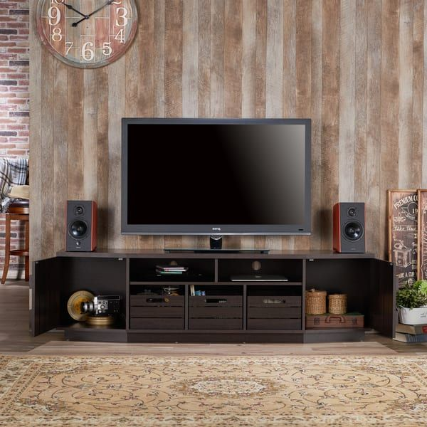 Furniture of America Harla Rustic 70-inch TV Stand with Removable Crates