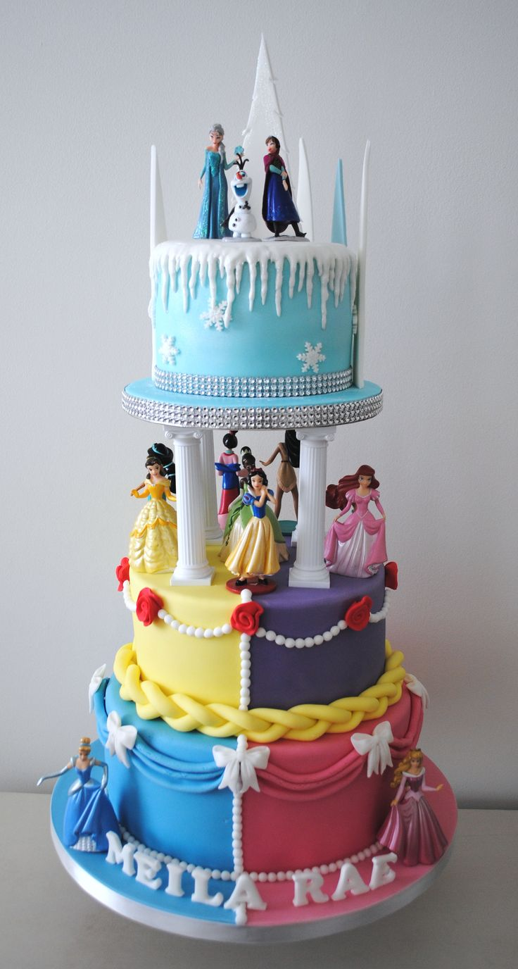 Disney princess 3 tiered birthday cake (birthday cake cookies treats)