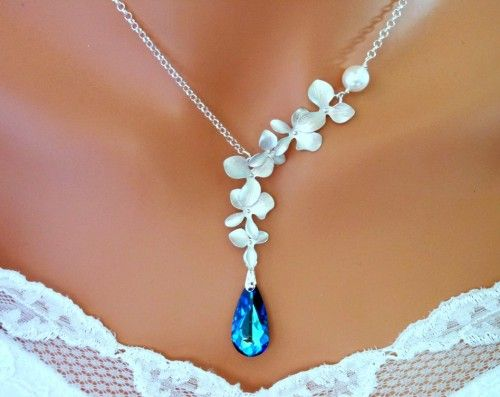 """Something blue"" Bermuda Blue Peacock Orchids Necklace, Wedding Necklace, Blue Wedding"
