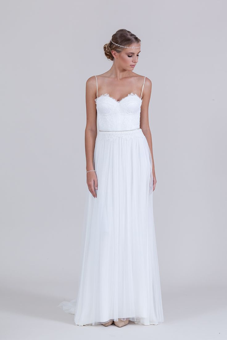Lillia gown with shoestring straps
