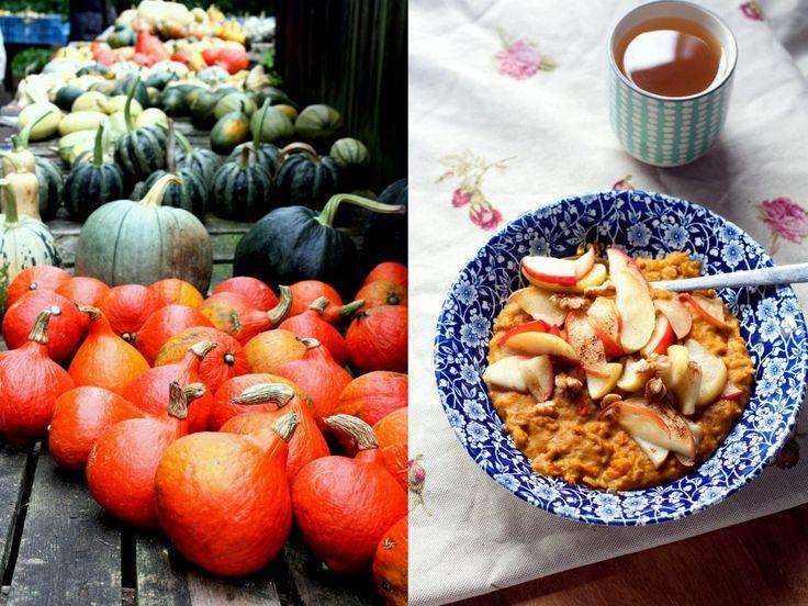 Haver(mout)pap met pompoen, kaneel en gebakken appel