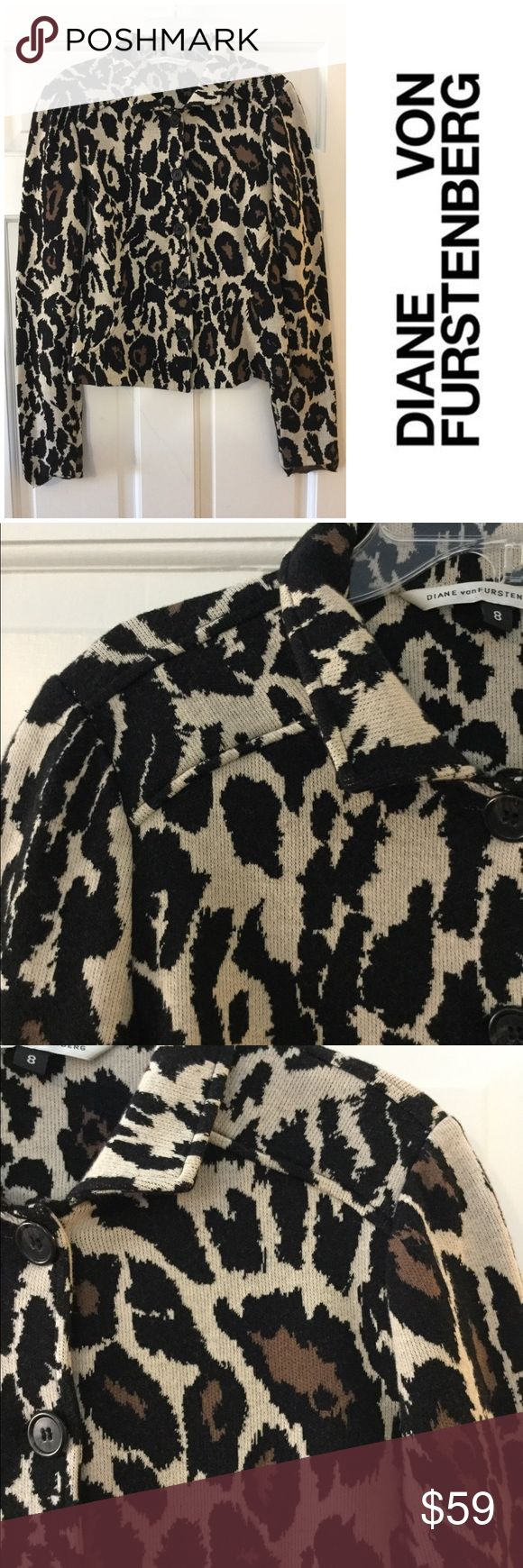 "DVF leopard print knit jacket Brown, black and creme Diane von Furstenberg knit jacket with leopard print throughout, standing collar and button closures at front.  Bust: 35""  Waist: 31""  Shoulder: 13""  Length: 20.5""  Sleeve: 31""  Excellent condition. EUC.  Smoke free and pet free. Diane Von Furstenberg Jackets & Coats"