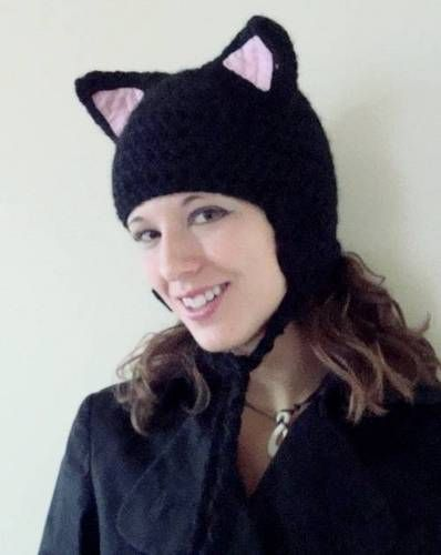 Black Kitty Cat Hat - Now with a VERY rough basic pattern included