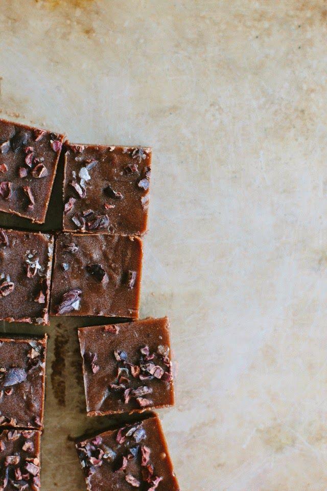 raw chocOlate fudge with cacao nibs + sea salt