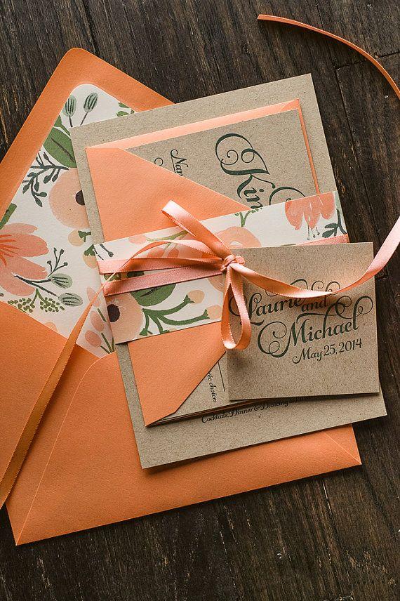 Rustic Wedding Invitation Coral & Kraft by FlairNecessities